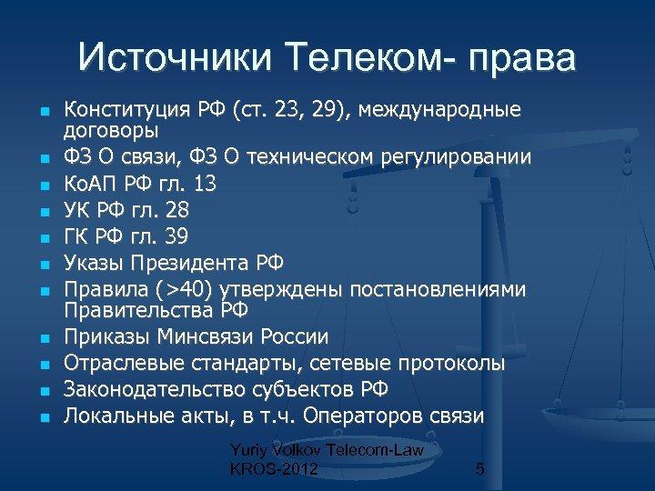 Источники Телеком- права Конституция РФ (ст. 23, 29), международные договоры ФЗ О связи, ФЗ