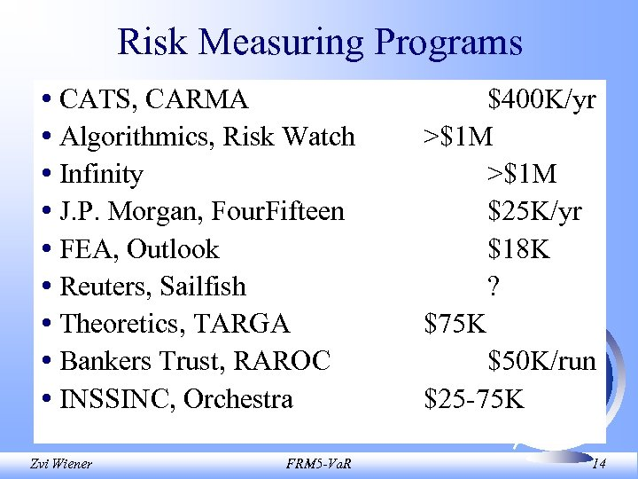 Risk Measuring Programs • CATS, CARMA • Algorithmics, Risk Watch • Infinity • J.