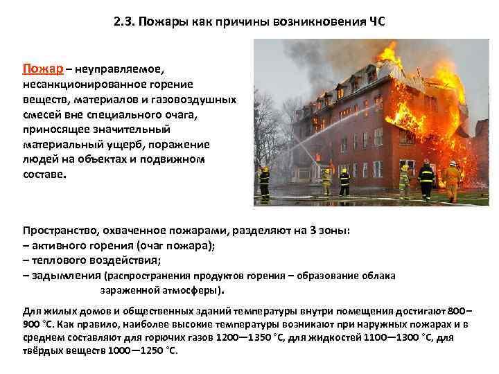 2. 3. Пожары как причины возникновения ЧС Пожар – неуправляемое, несанкционированное горение веществ, материалов