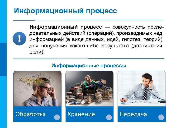 МК Информационный процесс ! Информационный процесс — совокупность последовательных действий (операций), производимых над информацией