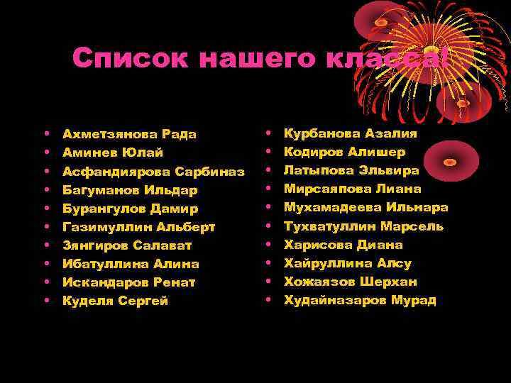 Список нашего класса! • • • Ахметзянова Рада Аминев Юлай Асфандиярова Сарбиназ Багуманов Ильдар
