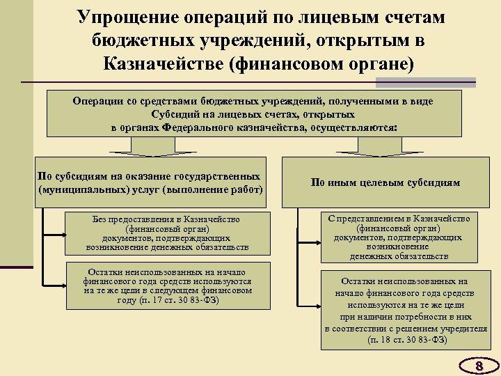 Упрощение операций по лицевым счетам бюджетных учреждений, открытым в Казначействе (финансовом органе) Операции