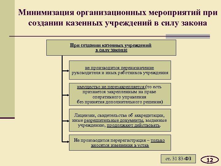 Минимизация организационных мероприятий при создании казенных учреждений в силу закона При создании казенных учреждений