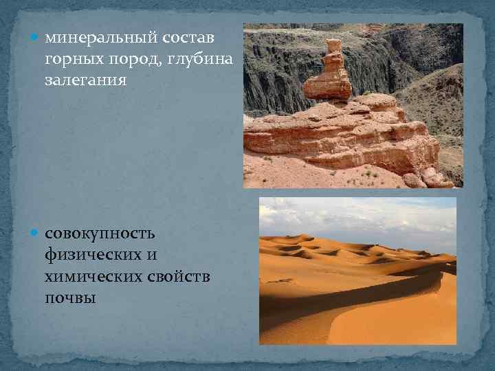 минеральный состав горных пород, глубина залегания совокупность физических и химических свойств почвы