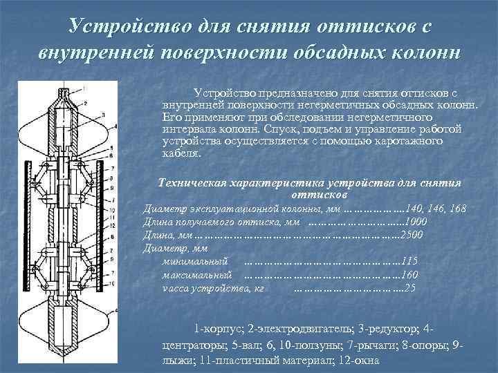 Устройство для снятия оттисков с внутренней поверхности обсадных колонн Устройство предназначено для снятия оттисков