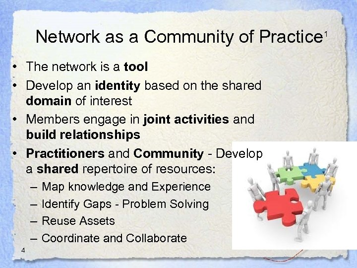 Network as a Community of Practice 1 • The network is a tool •