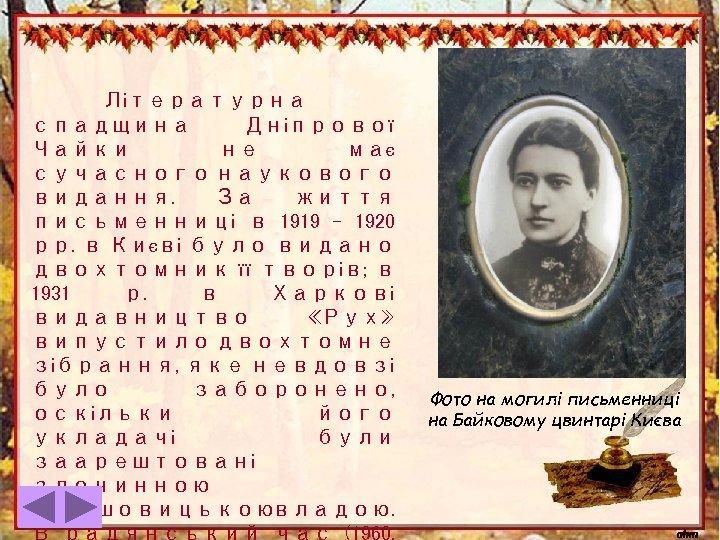 Літературна спадщина Дніпрової Чайки не має сучасного наукового видання. За життя письменниці в 1919
