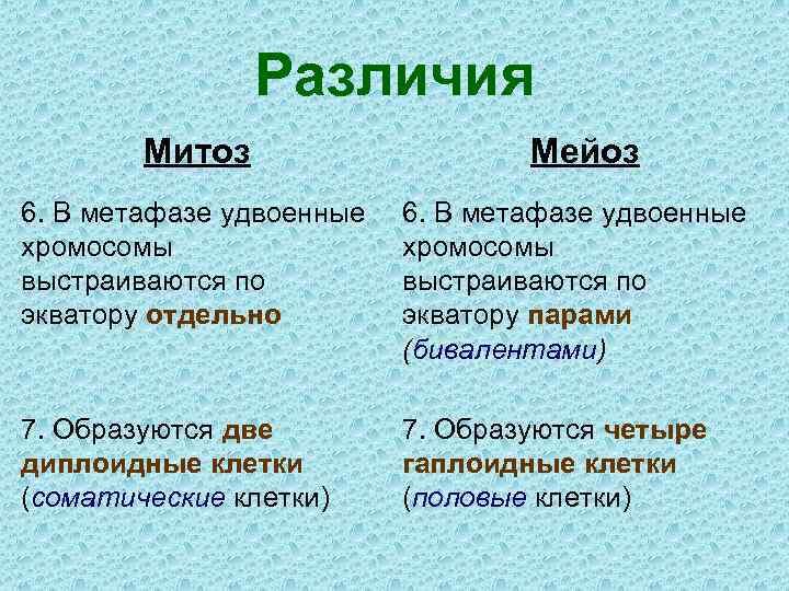 Различия Митоз Мейоз 6. В метафазе удвоенные хромосомы выстраиваются по экватору отдельно 6. В