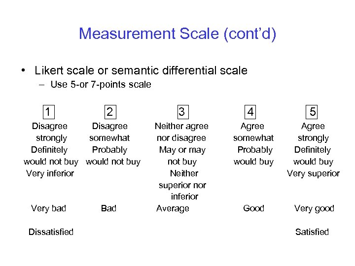 Measurement Scale (cont'd) • Likert scale or semantic differential scale – Use 5 -or