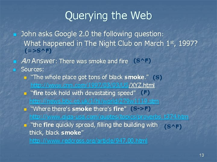 Querying the Web n John asks Google 2. 0 the following question: What happened