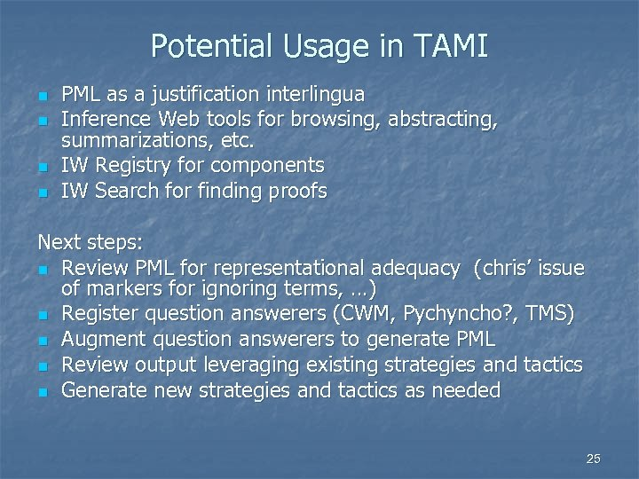 Potential Usage in TAMI n n PML as a justification interlingua Inference Web tools