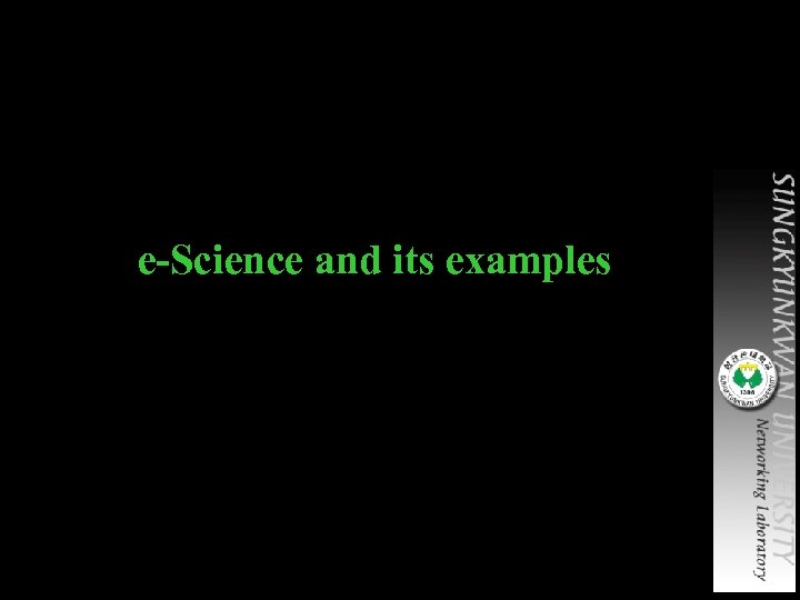 e-Science and its examples