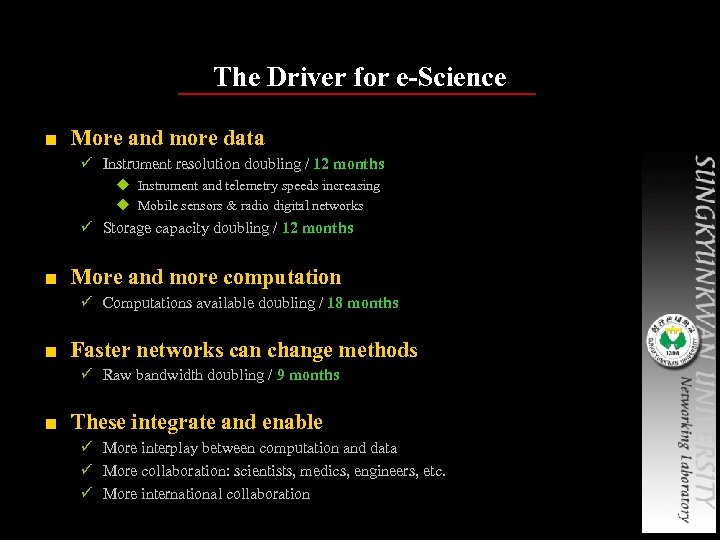 The Driver for e-Science ■ More and more data ü Instrument resolution doubling /