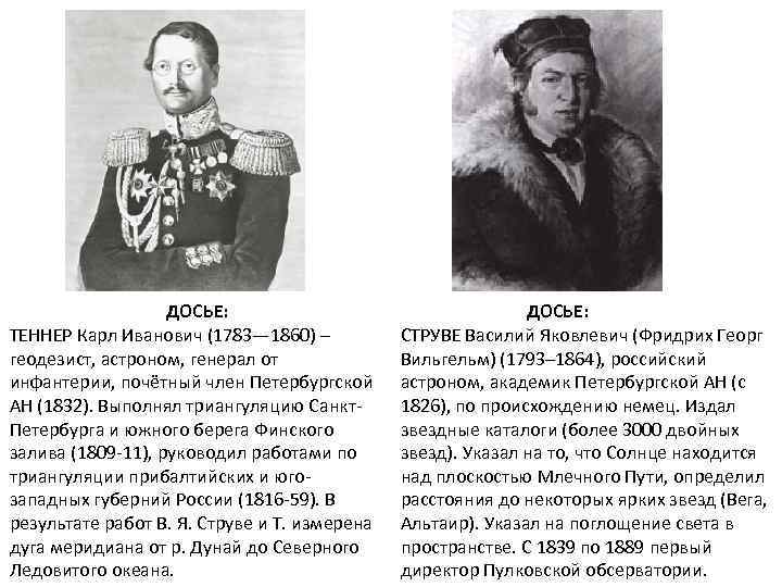 ДОСЬЕ: ТЕННЕР Карл Иванович (1783— 1860) – геодезист, астроном, генерал от инфантерии, почётный член