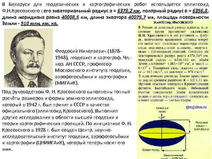 В Беларуси для геодезических и картографических работ используется эллипсоид Ф. Н. Красовского : его
