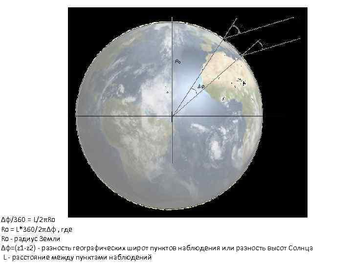 Δφ/360 = L/2πR 0 = L*360/2πΔφ , где R 0 радиус Земли Δφ=(z 1