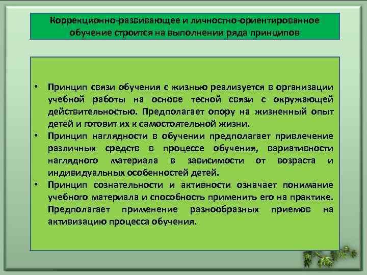 Коррекционно-развивающее и личностно-ориентированное обучение строится на выполнении ряда принципов • Принцип связи обучения с