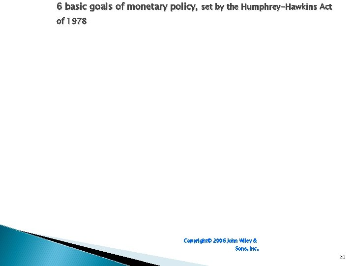 6 basic goals of monetary policy, set by the Humphrey-Hawkins Act of 1978 Copyright©