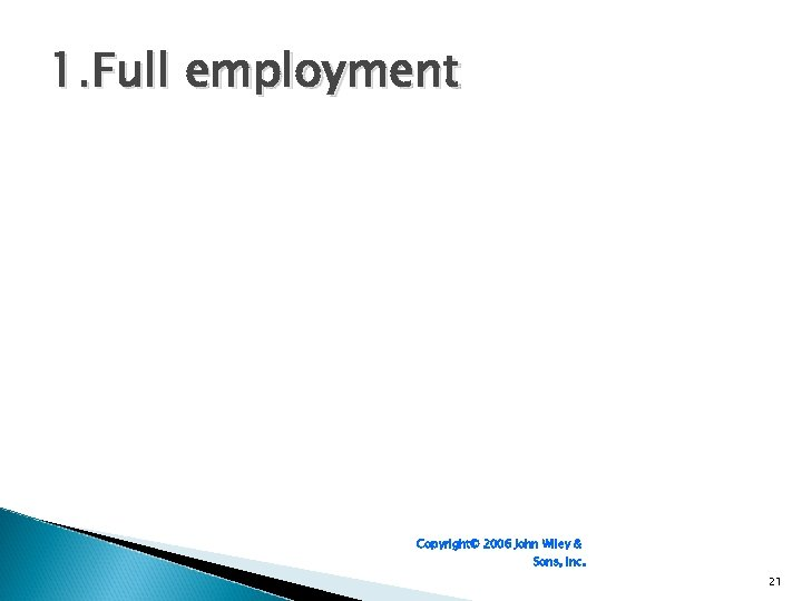 1. Full employment Copyright© 2006 John Wiley & Sons, Inc. 21