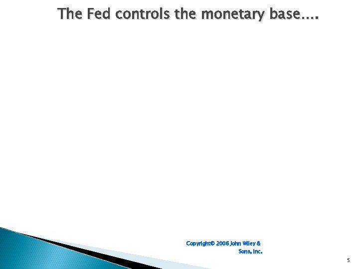 The Fed controls the monetary base…. Copyright© 2006 John Wiley & Sons, Inc. 5