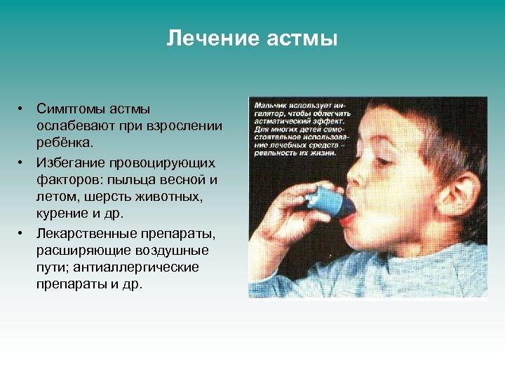 Лечение астмы • Симптомы астмы ослабевают при взрослении ребёнка. • Избегание провоцирующих факторов: пыльца
