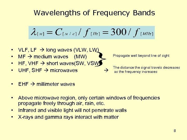 Wavelengths of Frequency Bands • • VLF, LF long waves (VLW, LW) MF medium