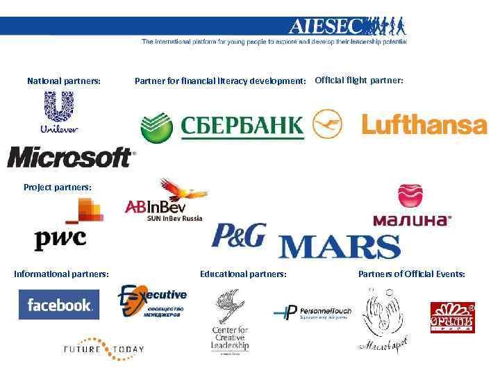 National partners: Partner for financial literacy development: Official flight partner: Project partners: Informational partners: