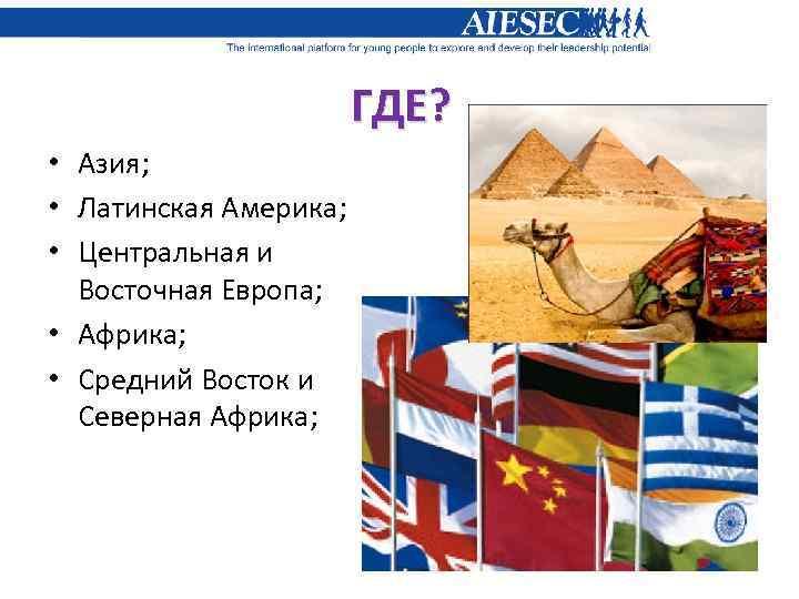ГДЕ? • Азия; • Латинская Америка; • Центральная и Восточная Европа; • Африка; •