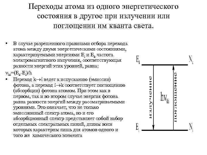 Переходы атома из одного энергетического состояния в другое при излучении или поглощении им кванта