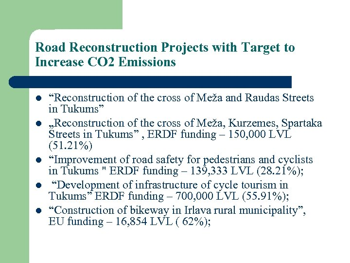 "Road Reconstruction Projects with Target to Increase CO 2 Emissions l l l ""Reconstruction"