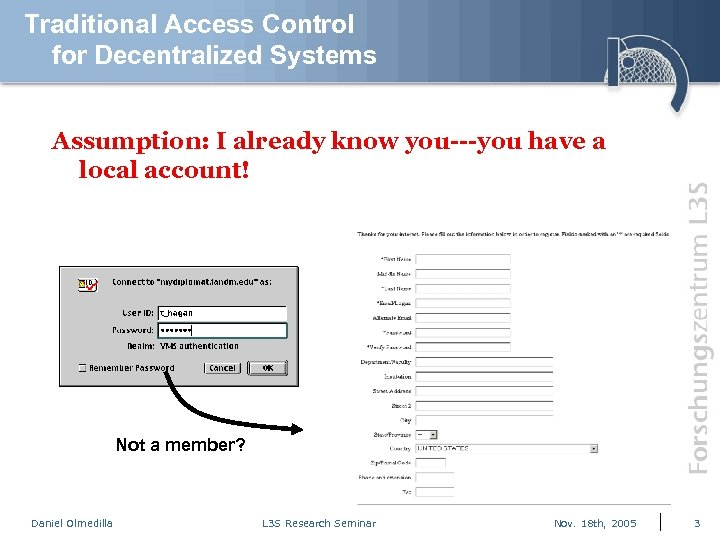 Traditional Access Control for Decentralized Systems Assumption: I already know you---you have a local
