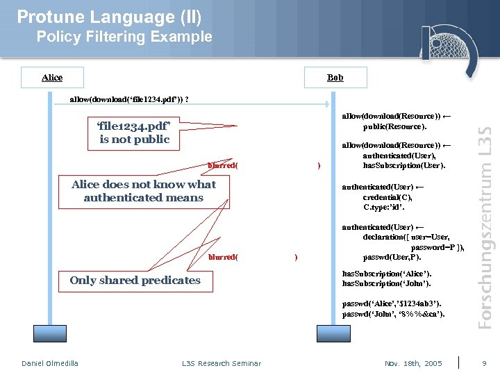 Protune Language (II) Policy Filtering Example Alice Bob allow(download('file 1234. pdf')) ? allow(download(Resource)) ←