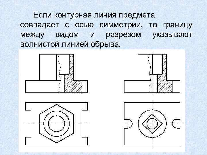 Если контурная линия предмета совпадает с осью симметрии, то границу между видом и разрезом