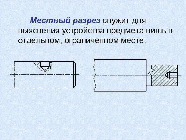Местный разрез служит для выяснения устройства предмета лишь в отдельном, ограниченном месте.