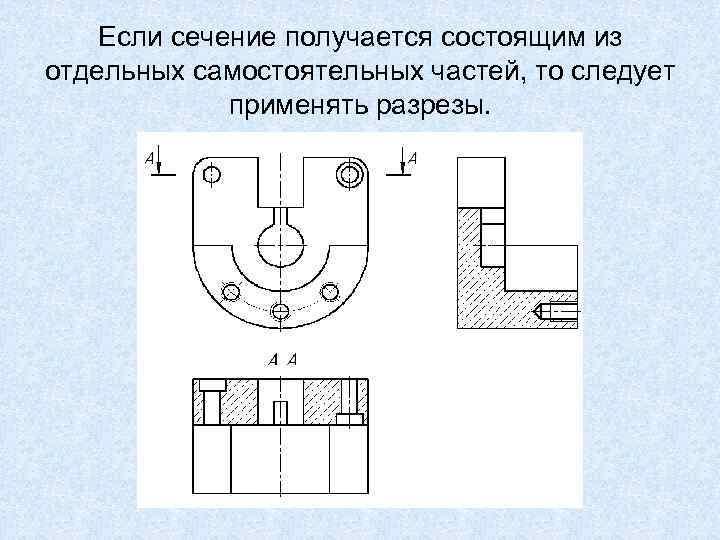 Если сечение получается состоящим из отдельных самостоятельных частей, то следует применять разрезы.