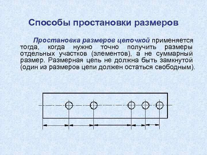 Способы простановки размеров Простановка размеров цепочкой применяется тогда, когда нужно точно получить размеры отдельных