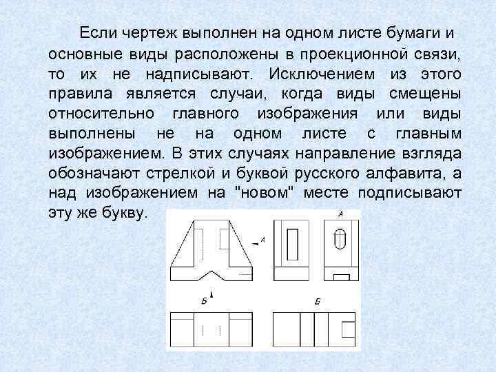 Если чертеж выполнен на одном листе бумаги и основные виды расположены в проекционной связи,