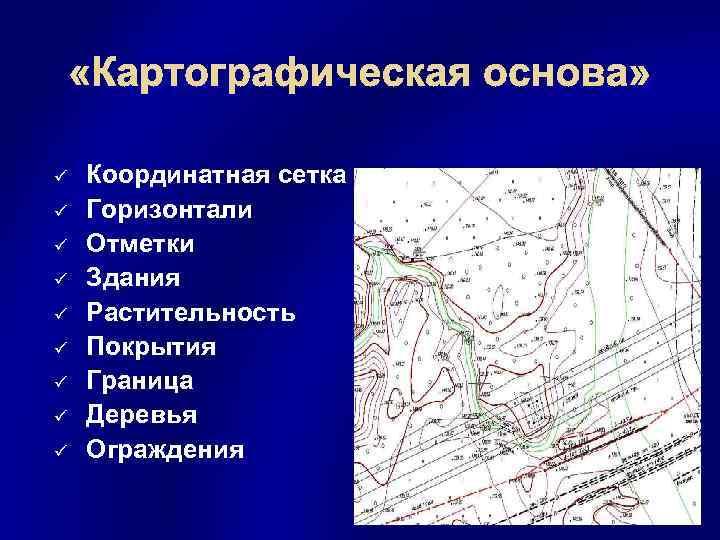 «Картографическая основа» ü ü ü ü ü Координатная сетка Горизонтали Отметки Здания Растительность