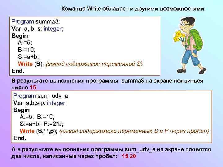 Команда Write обладает и другими возможностями. Program summa 3; Var a, b, s: integer;