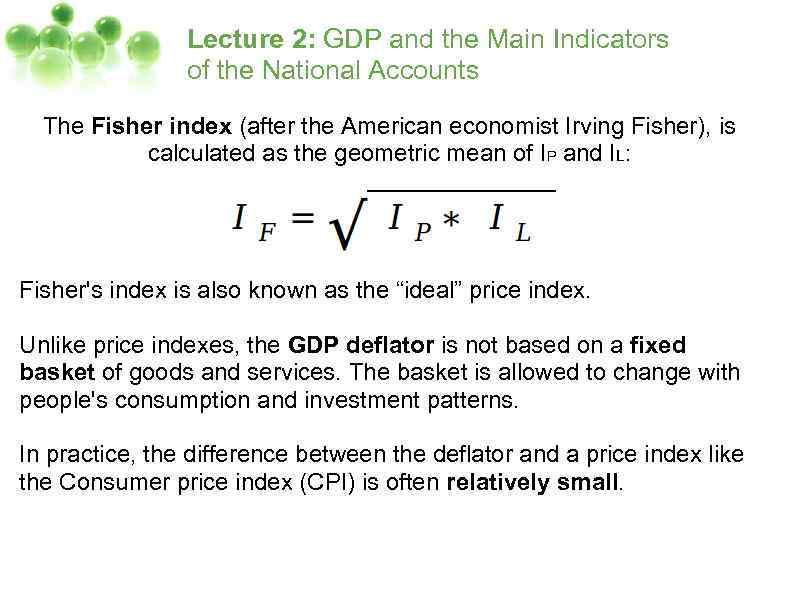 Lecture 2 GDP and the Main Indicators
