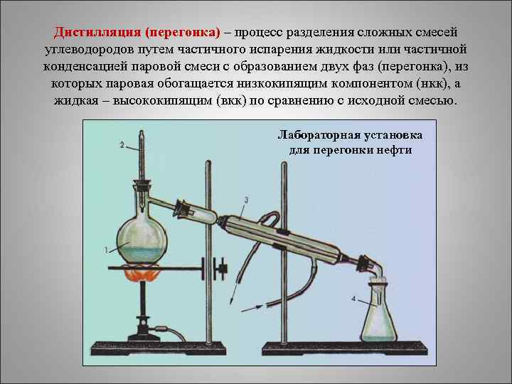 Дистилляция (перегонка) – процесс разделения сложных смесей углеводородов путем частичного испарения жидкости или частичной