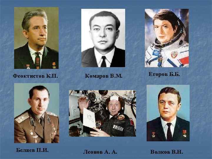 Феоктистов К. П. Беляев П. И. Комаров В. М. Егоров Б. Б. Леонов A.