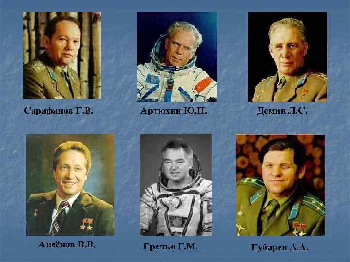 Сарафанов Г. В. Аксёнов В. В. Артюхин Ю. П. Гречко Г. М. Демин Л.