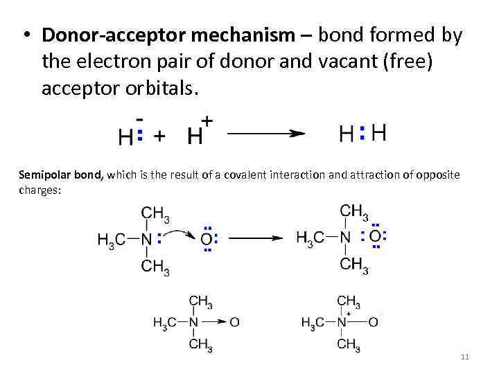 • Donor-acceptor mechanism – bond formed by the electron pair of donor and