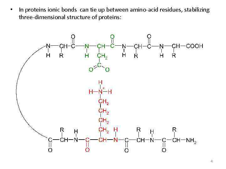 • In proteins ionic bonds can tie up between amino-acid residues, stabilizing three-dimensional