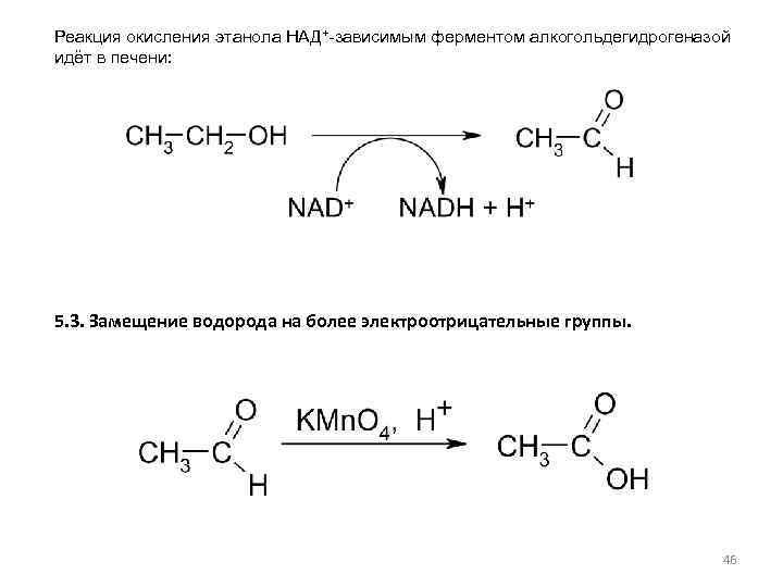Реакция окисления этанола НАД+-зависимым ферментом алкогольдегидрогеназой идёт в печени: 5. 3. Замещение водорода на