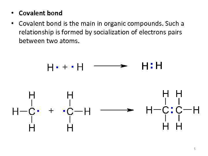 • Covalent bond is the main in organic compounds. Such a relationship is