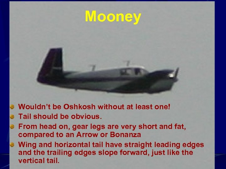 Mooney Wouldn't be Oshkosh without at least one! Tail should be obvious. From head