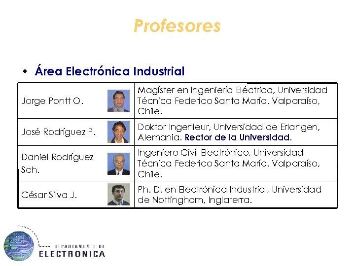 Profesores • Área Electrónica Industrial Jorge Pontt O. Magíster en Ingeniería Eléctrica, Universidad Técnica