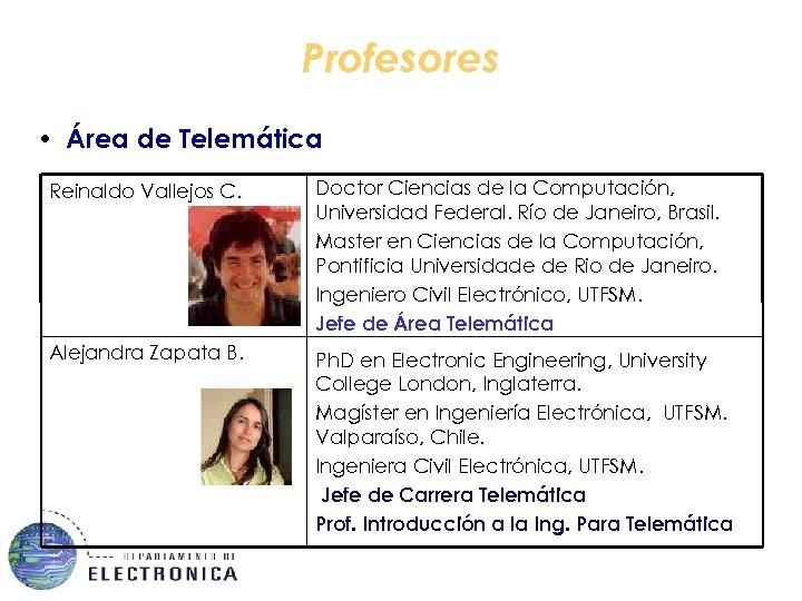 Profesores • Área de Telemática Reinaldo Vallejos C. Doctor Ciencias de la Computación, Universidad
